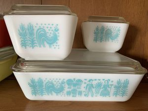 Vintage Pyrex Amish Butterprint Refrigerator Dishes Turquoise White for Sale in Homer Glen, IL