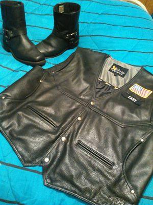 Motorcycle boots n vest for Sale in Port Norris, NJ