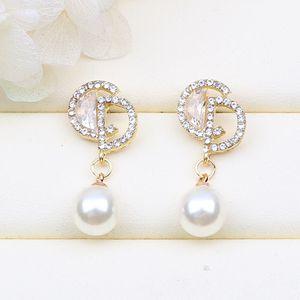 Fashion Letter CD Style Diamonds Pearl Earrings 925 Silver for Sale in Corona, CA