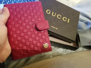 Authentic Gucci Passport & Wallet Leather Cover in Red & Guccissima style. Made in Italy. for Sale in Seattle, WA