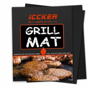 Grill Mat - Set of 3 Heavy Duty BBQ Grill Mats - Non Stick, Reusable, and Easy to Clean Barbecue Grilling Accessories for Sale in Queens, NY