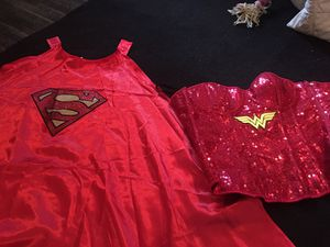 Wonder women corset Halloween costume and Superman cape for Sale in Alpharetta, GA