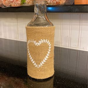 Burlap White Heart Vase Holds Flowers for Sale in Rowlett, TX