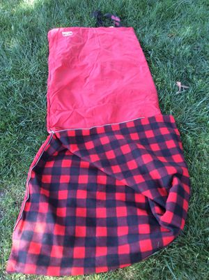 Single person sleeping bag new never used plaid red with black zipper works good Very clean $8 for Sale in Riverbank, CA