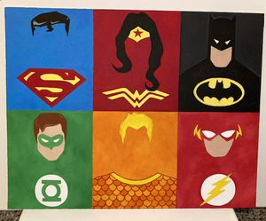 Justice League Minimalistic Flat Canvas for Sale in Phoenix, AZ