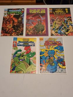 Teenage Mutant Ninja Turtles Comic Book Lot, Adventures #33, Tales Of #7, Last Viking Heroes #2, Donatello Leatherhead #2, Merdude Michaelangelo #2 for Sale in Fresno,  CA