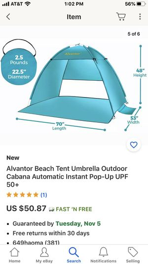 Alvantor beach tent umbrella new for Sale in Stockton, CA