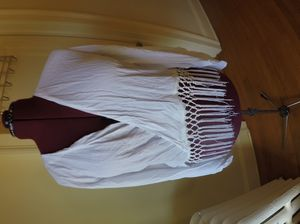 *Brand New* Size Large White Fringe Mesh Drape Front Womens Blouse for Sale in Bloomfield, CT