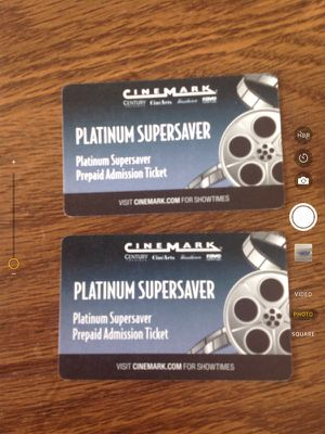 Two Cinemark Platinum Supersaver Prepaid Admission Tickets for Sale in Centreville, VA