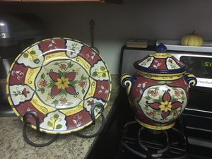 Pier 1 jars and saucer and plate iron stand for Sale in North Bethesda, MD