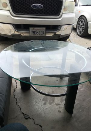 Glass round table knee high leather finish for Sale in Sunnyvale, CA