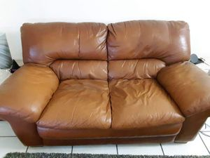 Brown/Red Leather Couch for Sale in Miami, FL