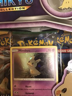 Pokemon TCG: Mimikyu Premium Collection Box Featuring A Special Mimikyu Pin for Sale in Queens,  NY