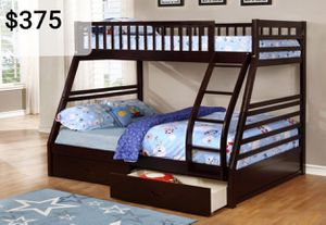 Espresso Twin Full bunk bed with 2 drawers ( New) for Sale in Hayward, CA