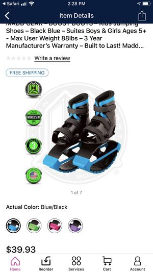 MADD GEAR – BOOST BOOTS – Kids Jumping Shoes – Black Blue for Sale in Portsmouth, VA