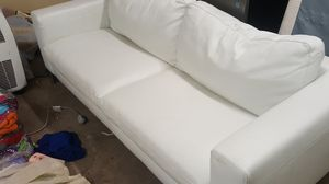 White leather couch with minor damage and stains for Sale in Austin, TX