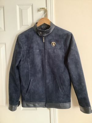 Emporio & Co Men's Small Ferrari Blue Suede Full Zipper Jacket Coat for Sale in Alpharetta, GA