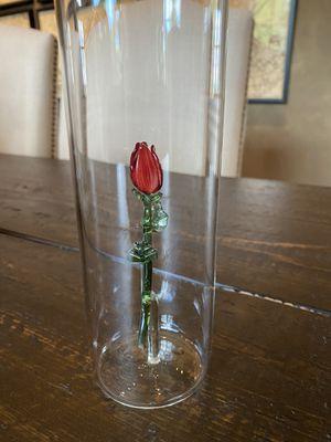 Glass Rose in Bottle for Sale in Olathe, KS
