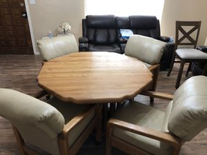 Dining table leather reclining chairs for Sale in Bakersfield, CA