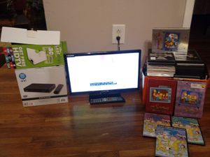 """Package deal 19"""" HD TV-new DVD player- box 30 dvds for Sale in Nashville, TN"""
