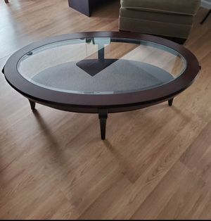 Solid Wood & Glass Oval Coffee Table for Sale in Paramount, CA