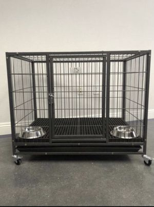 Brand new heavy duty dog pet kennel cage crate with plastic floor & bowls 🦮 see dimensions in second picture🦮🦮🐕🐕 for Sale in Las Vegas, NV