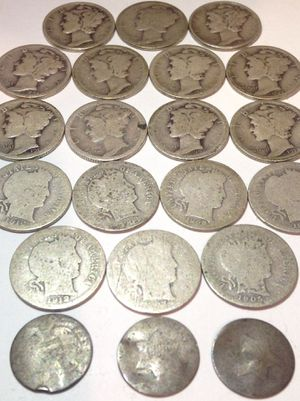 Rare Old SILVER 1850s-1940s US Coins Type Set- 3 Cent Silver Pieces, Silver Barber Dimes, Silver Mercury Dimes! for Sale in Chantilly, VA