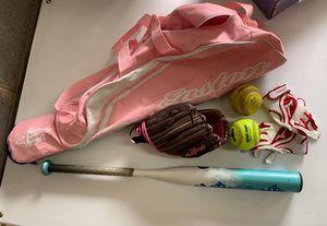 Youth Girls Softball Lot - Bat, glove, bag, gloves, balls for Sale in Prince George, VA