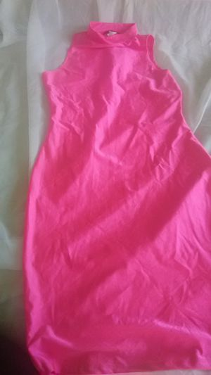 Hot pink stretchy knee length dress low turtle neck sleeveless for Sale in West Mifflin, PA