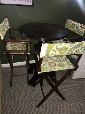 High table and 3 director chairs for Sale in Hanover, MD