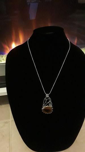 One-of-a-kind 925 stamped pendant with Brownstone and free chain for Sale in Riverview, FL