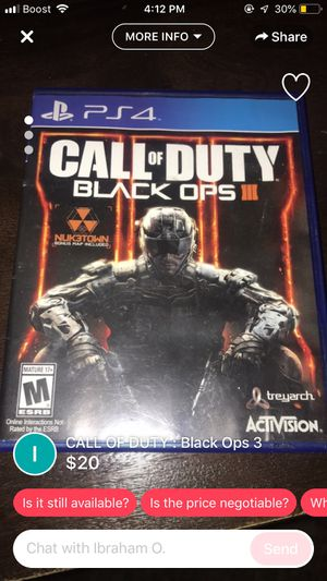 Black Ops 3 PS4 $10 for Sale in Houston, TX