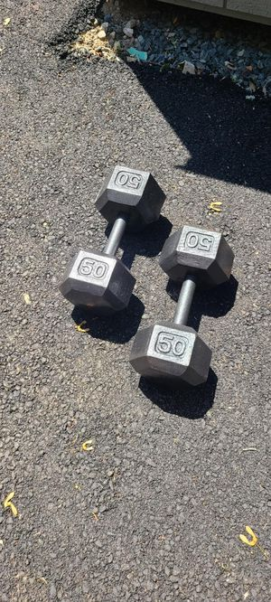 50 lb Hex Cast Iron Dumbbells for Sale in Newton, MA