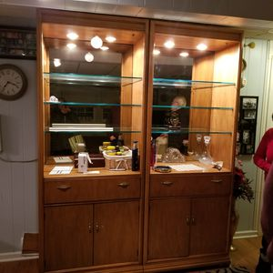 Display cabinet and Shelving unit. Glass shelves. Drawers. Cabinet for storage. for Sale in Darien, IL