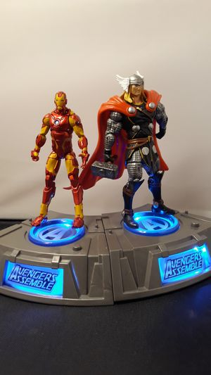 Marvel Superheroes Avenger Assemble Light up Base 2011 Iron man and Thor for Sale in South Attleboro, MA