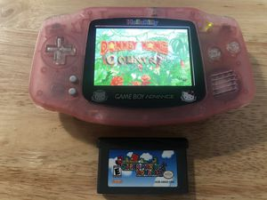 Gameboy advance backlit hello kitty mod with mario and donkey kong for Sale in Los Angeles, CA