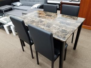 New in box faux marble top 5 PC dining table set for Sale in College Park, MD