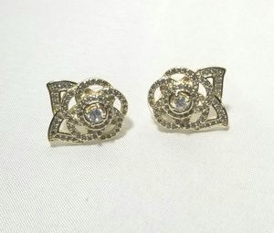 Cz diamond camellia flower drops earrings dangle gold for Sale in Austin, TX