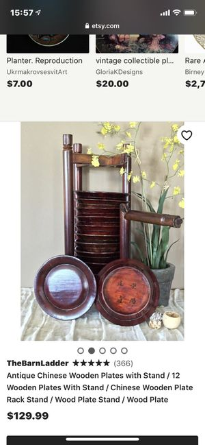 Antique Chinese Wooden Plates w/Stand for Sale in San Bernardino, CA