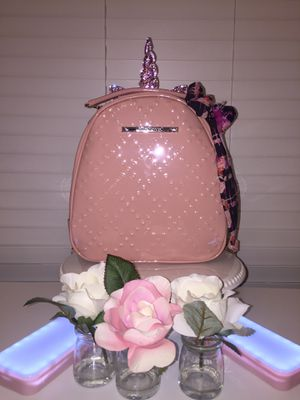 New Betsey Johnson Pink or Blush Backpack shiny heart pattern-cute scarf-Adorable! NWT for Sale in Houston, TX