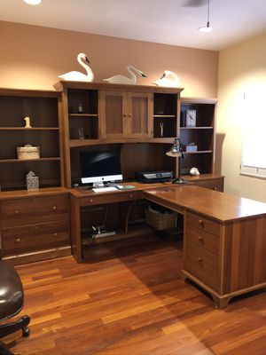 Office/desk unit- Ethan Allen- four pieces. Buy all four, or just the three wall pieces. Front desk piece is detachable. for Sale in Delray Beach, FL