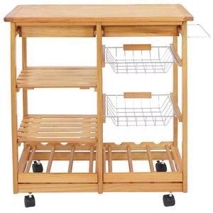 4-Shelf Kitchen Storage Island Cart Rack Wood Dining Trolley w/Drawers Basket Stand Home Kitchen Shelves and Organizer w/Wheels for Sale in East Los Angeles, CA