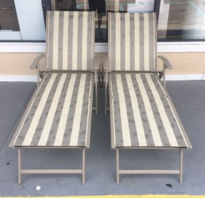 New Sling Folding Chaise Lounge Chair, Beige , Set of 2 for Sale in Columbia, SC