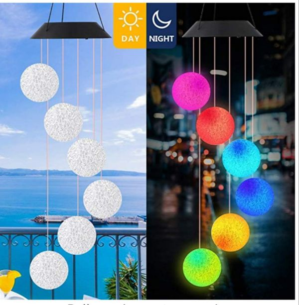 Wind Chime Outdoor Color-Changing Waterproof Mobile Romantic Led Solar Powered Crystal Ball Wind Chimes Lights for Home New