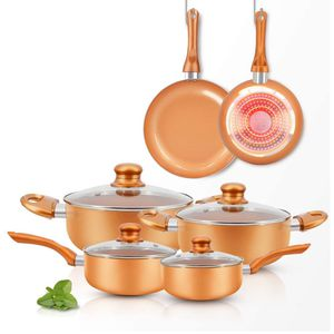 10pcs Cookware Set Ceramic Nonstick Soup Pot/Milk Pot/Frying Pans Set | Copper Aluminum Pan with Lid, Induction Gas Compatible, 1 Year Warranty Mothe for Sale in El Monte, CA