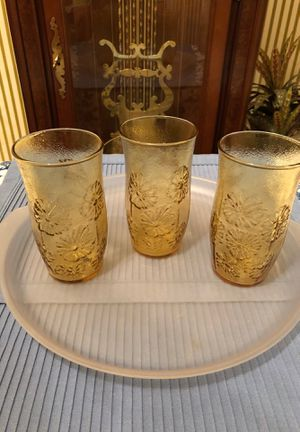 Anchor Hocking raised Daisy amber glasses for Sale in Texas City, TX