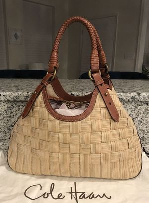 Monday night only!!! Discounted pricing on Cole Haan Genevieve Woven Leather Triangle Tote for Sale in Hillsboro, OR