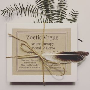 ZOETIC VOGUE All Natural Hand poured Soy herb & Crystal Aromatherapy Candle set for Sale in Austell, GA