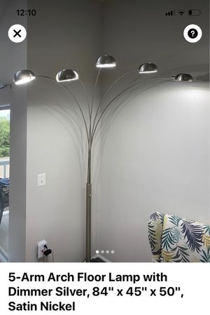 Five arm arc floor lamp with dimmer for Sale in Oakton, VA