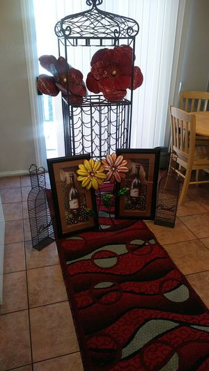 wine rack matching decor and rug for Sale in Las Vegas, NV